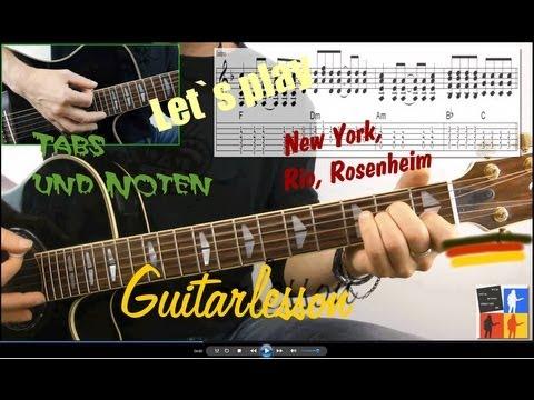 New York, Rio, Rosenheim - Guitarlesson Noten Tabs Sportfreunde Stiller
