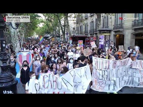شاهد | مسيرة في برشلونة ضدّ رهاب المثلية بعد جريمة قتل  - 22:54-2021 / 7 / 23
