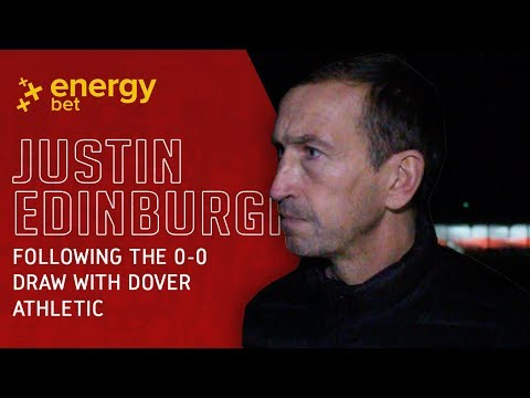 REACTION: Head Coach Justin Edinburgh after the 0-0 draw with Dover Athletic
