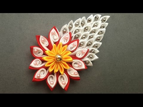 Diy How To Make Easy Beaded Satin Ribbon Flower Accessory Kanzashi