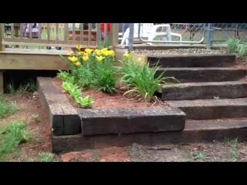 How to build steps out of railroad tie completed - YouTube