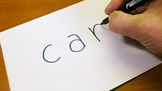 Easy! How to turn words CAR into a Cartoon for kids -  Let