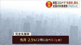 完全失業率2カ月ぶりに悪化 コロナ影響で求人減少(20/04/28)
