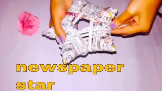 Make star with newspaper pipes!! how to make star for christmass decor using waste newspaper