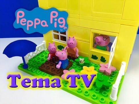 Свинка Пеппа и ее огромный дом Собираем из конструктора и играем Видео для детей Peppa pig and