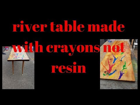my making of a river table with crayons not resin