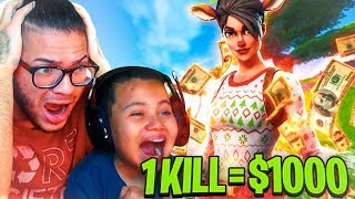 """1 KILL = $1000 FOR MY LITTLE BROTHER!! """"BUY ANYTHING YOU WANT!"""" FORTNITE BATTLE ROYALE! I WENT BROKE"""