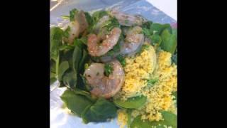 Shrimp Couscous With Mango Avocado Salsa.
