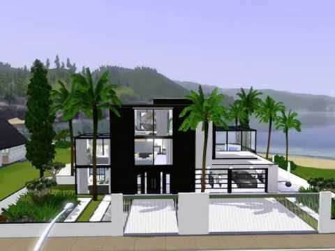Sims 3 modern beach house house decor ideas for Beach house plans sims 3