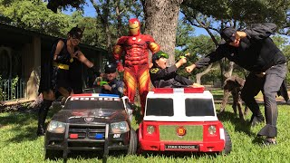 Kid Heroes 11 - The Police Car, the Fire Engine, and Batman vs Iron Man in an epic Nerf War!