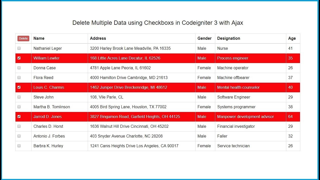How to Delete Multiple Records using Checkbox in Codeigniter