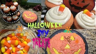 Yummy DIY Halloween Treats! (candy corn cupcakes & pumpkin cake) Thumbnail