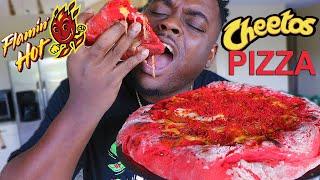 CHEESY HOT CHEETOS PIZZA MUKBANG amp RECIPE  BEAST MODE