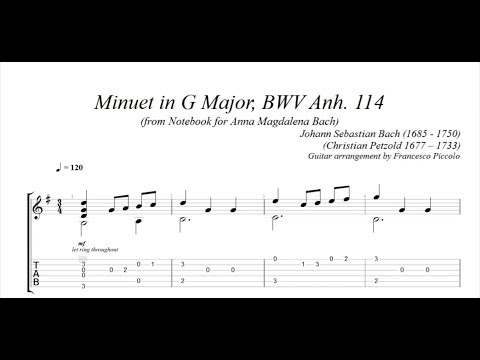 Classical Guitar - J. S. Bach - Minuet in G Major, BWV Anh. 114 (Notebook for Anna Magdalena Bach)