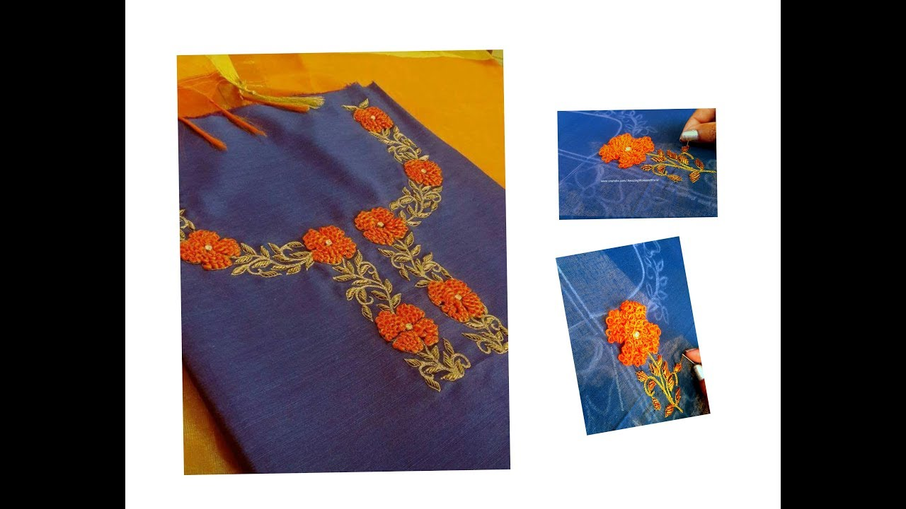 Simple Hand Embroidery Designs For Sarees