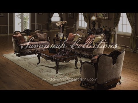 Italian Living Room Collection in Antique Walnut by Savannah Collections - E.J Victor
