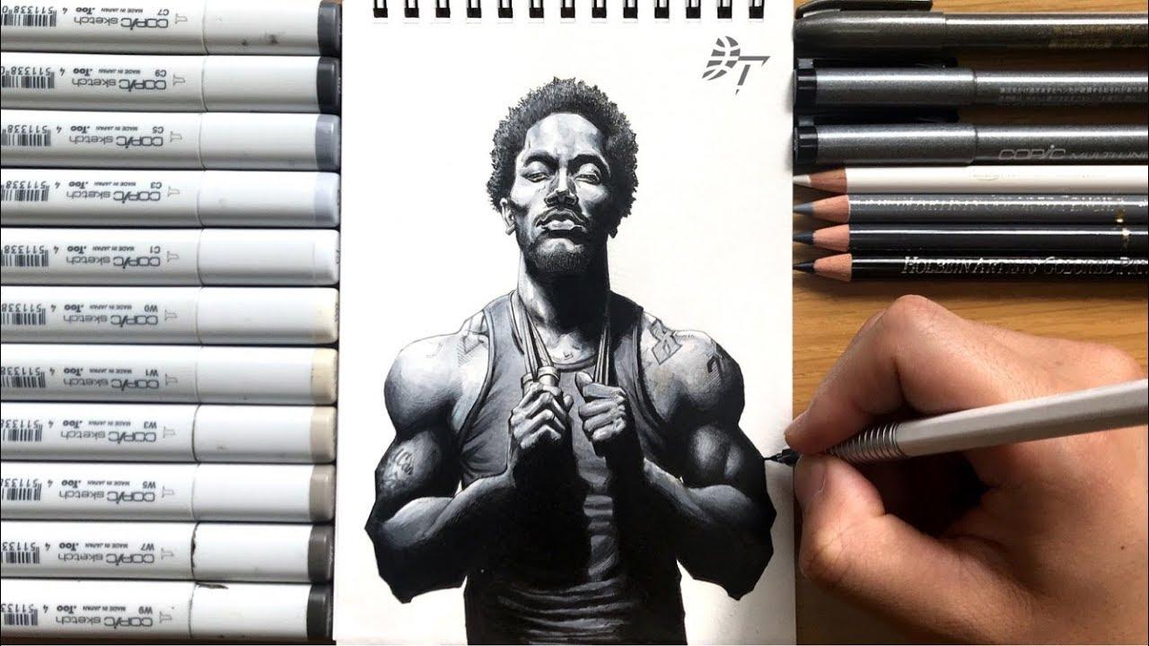 Drawing Technique Derrick Rose Minnesota Timberwolves Youtube