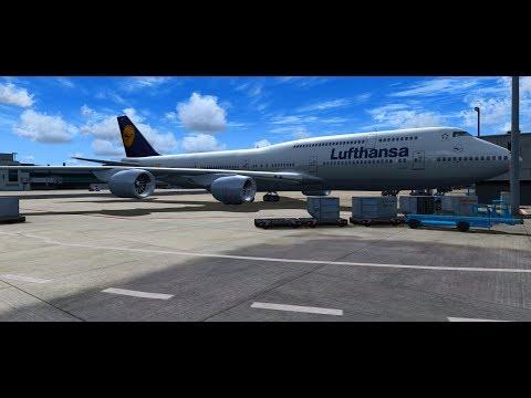 FSX/LUFTHANSA/BOEING 747-8i/Frankfurt to Manila/start up, take off