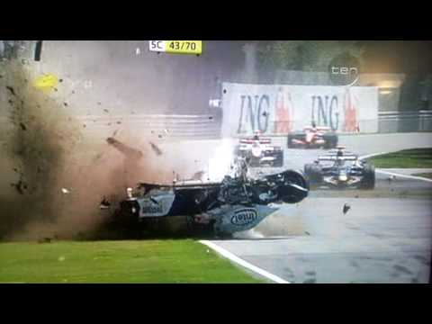 Horror F1 crash Kubica airbourne into wall 300Kph Montreal 2007 HD