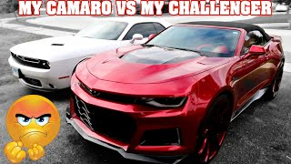 MY CHALLENGER VS MY CAMARO AND UNBOXING NEW PARTS FOR THEM 34s