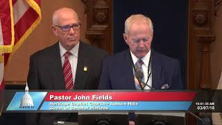 Sen. Marleau welcomes Pastor Fields to the Michigan Senate to deliver the invocation