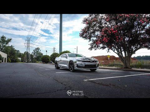 2020 Camaro SS: Avery Dennison Silver Chrome Wrap with Satin Black Racing Stripes 2