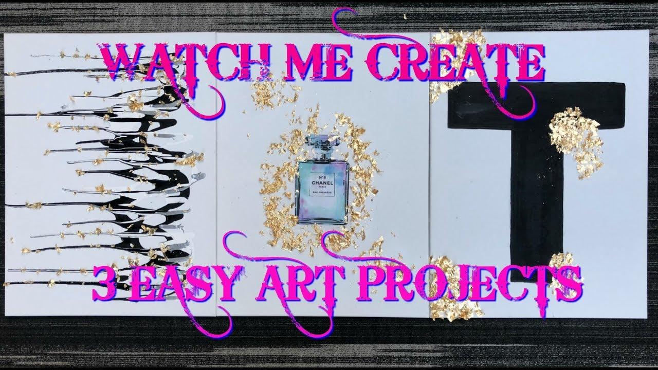 lovely Easy Canvas Art Projects Part - 11: 3 EASY CANVAS ART DIYu0027S -- CREATE WITH ME -- TARAHGEE FACE