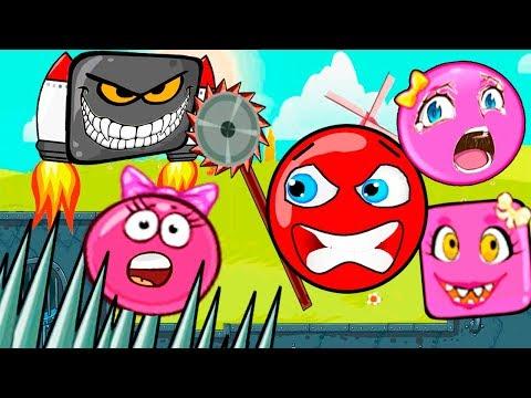 МУЛЬТИК про КРАСНЫЙ ШАРИК и Розовый Шар (квадрат) Девочка - Red Ball!