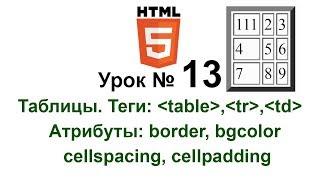 html Таблицы Теги table, tr, td Атрибут  border bgcolor height width cellspacing cellpadding 13