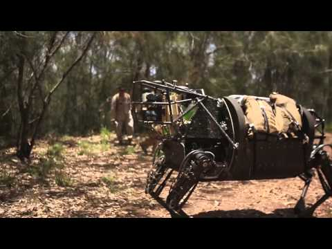 Marine LS3 Robot Patrols with Marines - Simulated Mortar Attack