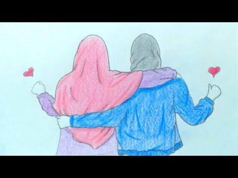 رسم سهل كيفية رسم افضل صديقات خطوة بخطوة رسم بنات محجبات بالرصاص رسم بنات كيوت Youtube