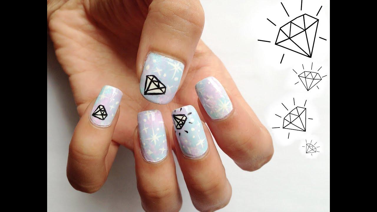 galaxy diamond nail art design