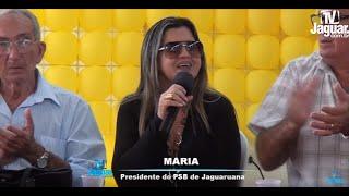 Maria do Zé Augusto da Jaguaruana em pronunciamento no encontro do PSB em Russas