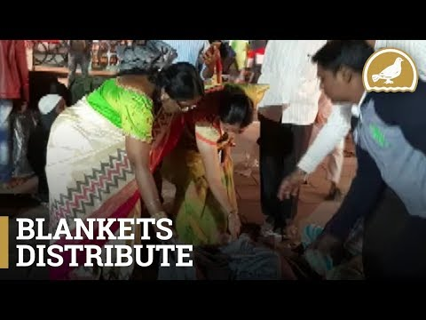 Blankets distributed to the homeless by GHMC