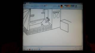 Рисунок в PAINT интерьер ванной или туалета. Урок 2