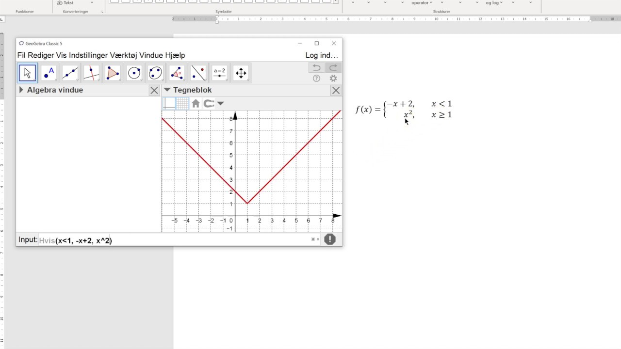 Opskriv og tegn en gaffelfunktion (også kaldet en stykkevis funktion)