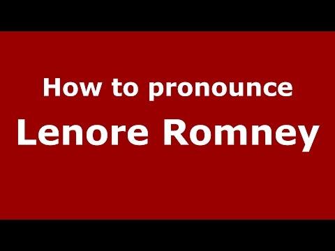 How to pronounce Lenore Romney (American English/US)  - PronounceNames.com