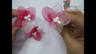 Làm hoa đào bằng vải voan
