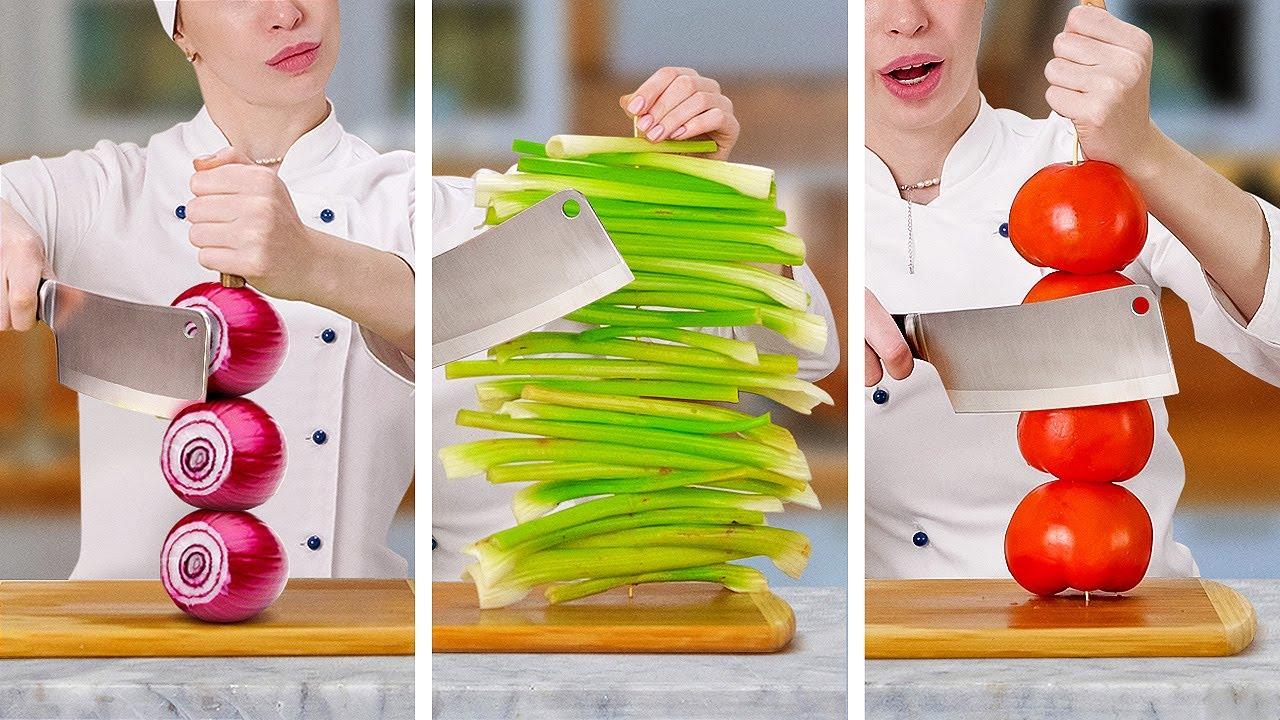 賢い果物と野菜のライフハック||プロ並みに野菜と果物を切る方法