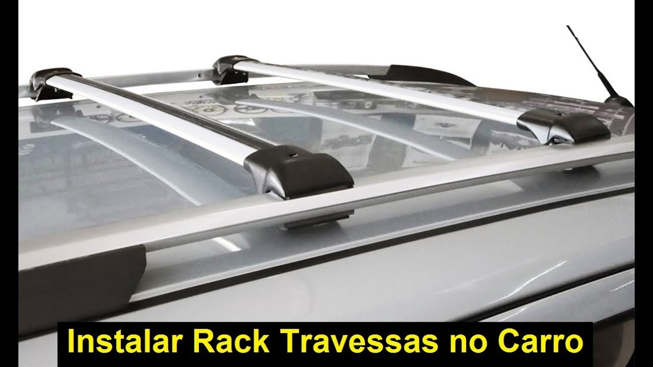 Como instalar rack de teto travessas de carro bagageiro suporte de longarina