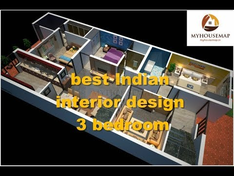 Best Indian Interior Design 3 Bedroom 3d House Floor Plan Ideas