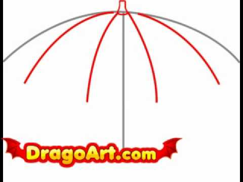 How to draw an umbrella step by step