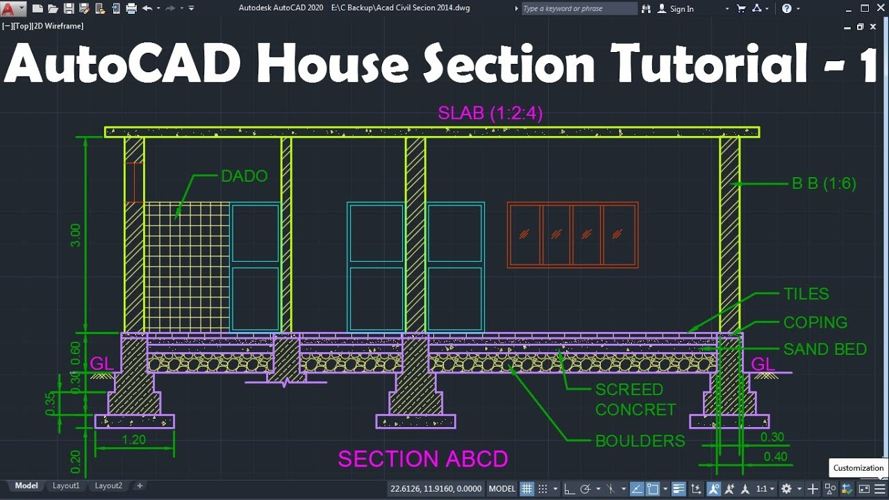 Autocad House Section Drawing Tutorial 1 Youtube