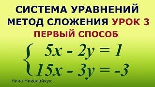 Система линейных уравнений  Метод сложения  Урок 3  Первый способ