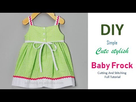 78ed0f60e450 DIY Simple Cute Stylish Baby Frock For 1 Year baby Girl - YouTube