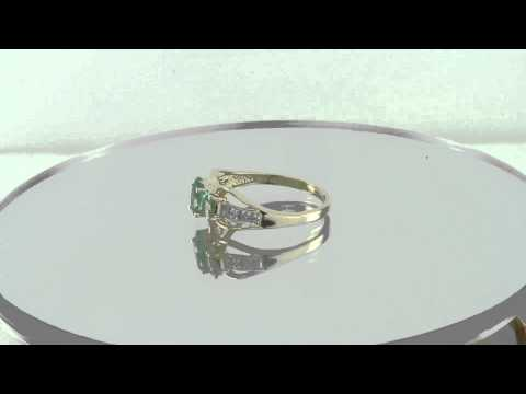 Estate 14K Gold 1.25ct Emerald & Diamond Engagement Ring Mother's Day