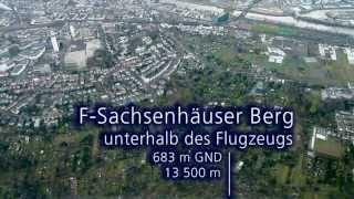 Flughafen Frankfurt - Anflug auf die neue Landebahn 25R mit Höhenangaben