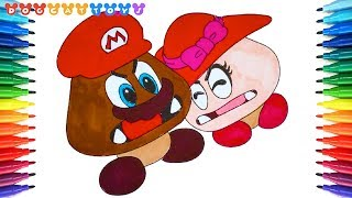 How to Draw Super Mario Odyssey, Goomba Couple #231 | Drawing Coloring Pages Videos for Kids