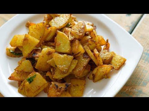Spicy Potato Fry For Curd Rice And Tamarind Rice | Aloo Fry | Urulaikilangu Poriyal