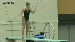 Natural curvy women diving.